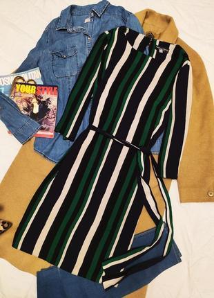 Дороти перкинс платье рубашка зелёное белое чёрное с поясом
