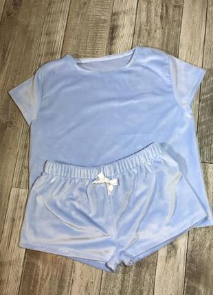 Піжамка футболка и шорти , велюр плюш