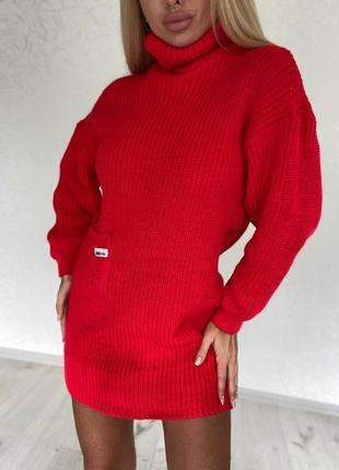 Красная обалденная свободная туника с карманом и горлышком