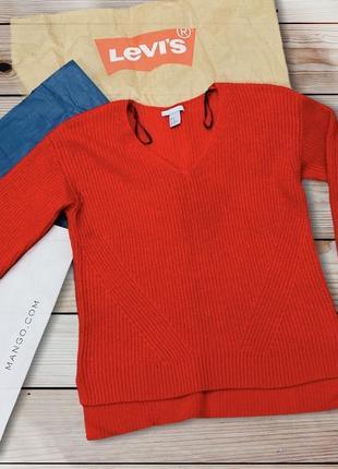 Тёплый красный свитер. кофта шерсть h&m
