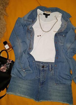 Джинсовая рубашка джинсовая юбка