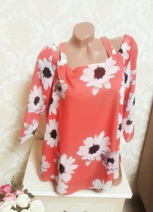 Легкая яркая летняя блуза с открытыми плечями2 фото