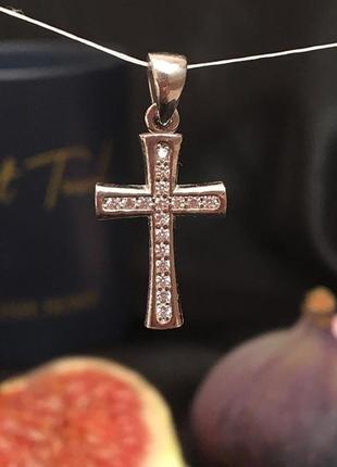 Крестик серебряный с цирконами ❤️❤️❤️