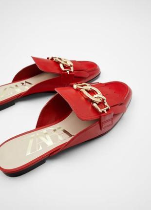 Красные кожаные мюли-лоферы zara