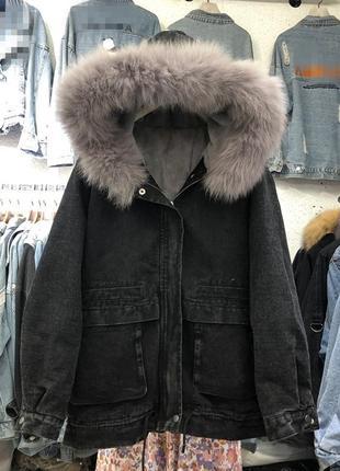 Оригинальная куртка на меховой подкладке
