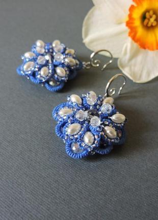 Длинные кружевные серьги с жемчугом , синие веточные серьги , свадебные серьги