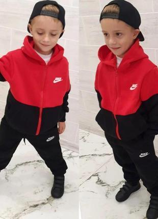 Детский подростковый теплый спортивный костюм nike (найк) ej-2906 трехнить на флисе турция