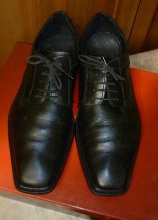 Брендовые мужские классические туфли кожаные на шнурках черные,р.42 полный