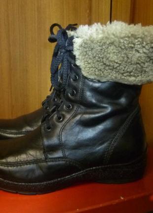 Зимние женские кожаные ботинки-сапоги на низком ходу на шнуровке