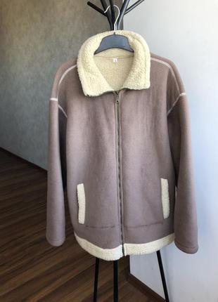 Искуственная дубленка куртка пиджак курточка пальто с мехом