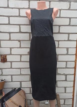Платье ниже колен с экокожей открытой спиной трикотаж карандаш