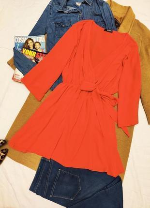 Платье оранжевое кимоно свободное большое батал quiz