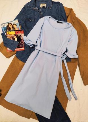 Boohoo платье голубое свободное с поясом рукав три четверти