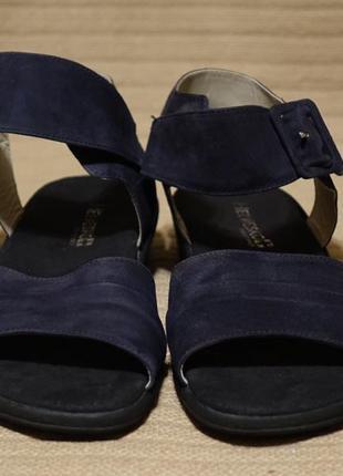 Темно - синие открытые замшевые босоножки helvesko швейцария 41 р.