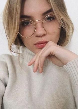 Имиджевые очки в золотой оправе, полукруглые рейбены