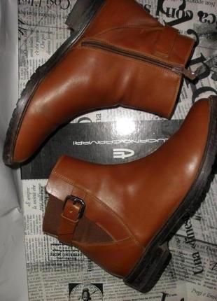 Рыжие натуральной кожи ботинки navyboot на низком ходу