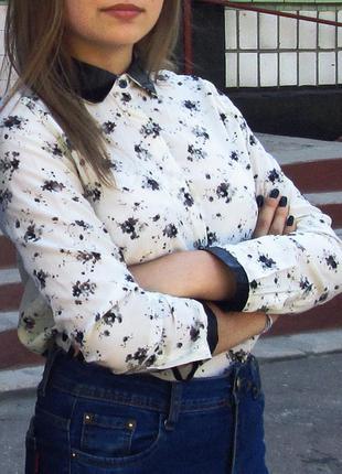 Рубашка в цветочный принт/рубашка от zara