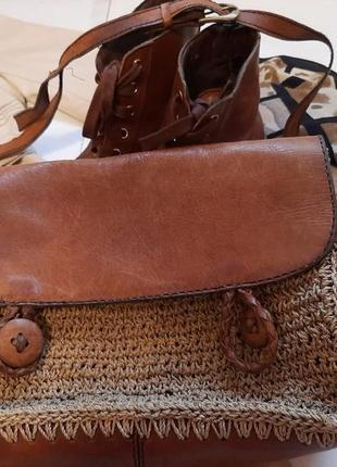 Кожаная сумка с плетенной вставкой