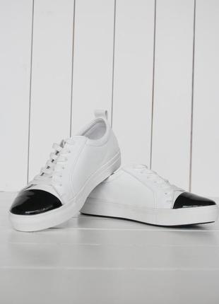Кожаные кеды слипоны, лакированный носочек р.36-40