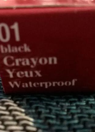 Черный водостойкий карандаш для глаз clarins crayon yeux 012 фото
