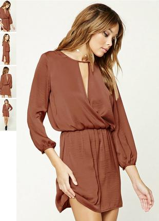 Стильное сатиновое платье кофейного цвета