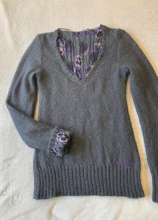 Дизайнерский двухсторонний джемпер, свитер - блуза, шерстяной, шелк, шерсть