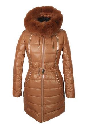 Очень крутой теплый зимний пуховик/куртка с натуральным мехом