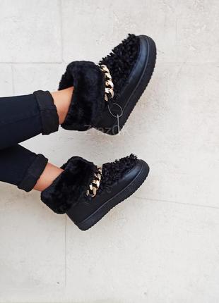 Черные ботинки угги мини дутики