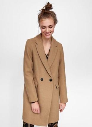 Классическое пальто из шерсти/ пальто бежевое двубортное