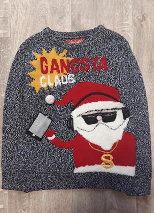 Новогодний музыкальный свитер кофта свитшот 7-9лет