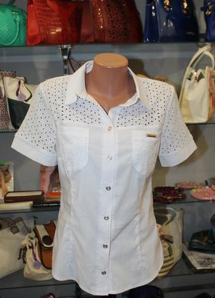 Белоснежная,легкая,воздушная блуза со вставками из прошвы
