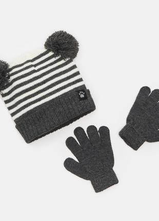 Шапка и рукавички для мальчика серый