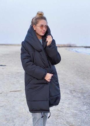 Зимняя куртка зефирка с капюшоном теплая
