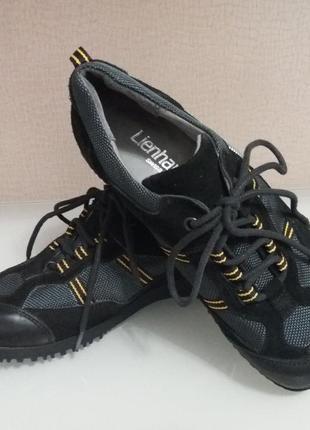 Туфли, кроссовки унисекс 100% кожа+замша lienhard (германия) 23,7 см на широкую ногу
