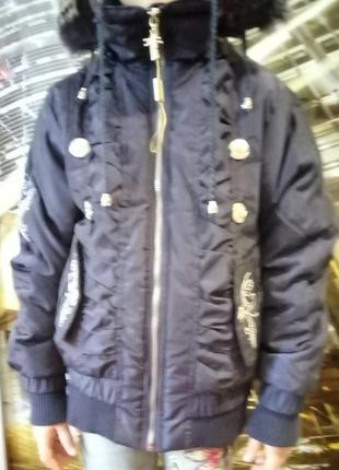 Удобная и красивая теплая куртка (венгрия) , рост 140 см .