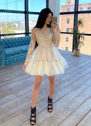 Платье с пышной фатиновой юбкой  беж