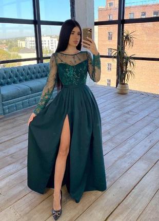 Платье макси с кружевным верхом зеленый