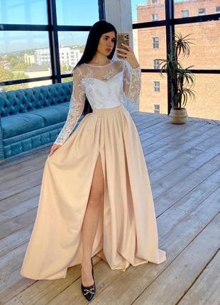Платье макси с кружевным верхом бежевый