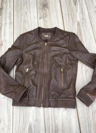 Стильная актуальная натуральная кожаная куртка h&m кожа
