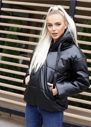 Тёплая куртка эко кожа