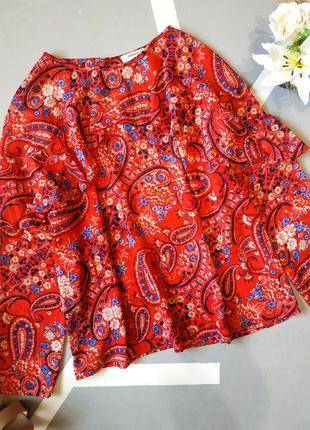 Шифоновая блуза с люрексом красная легкая с воланами рюшами