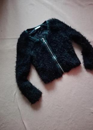 Пушистый пиджак барашка / травка / черная накидка / легкая куртка