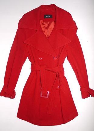 Брендовое пальто south шерсть. красный алый. тёплое зимнее