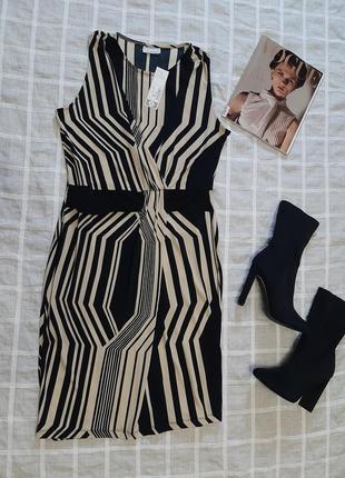 Стильное, бежево-черное платье-футляр 🔥