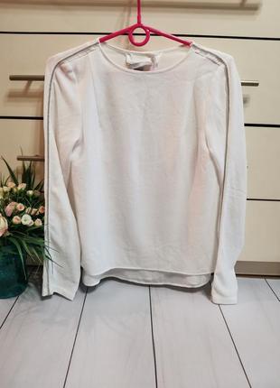 Шикарная белая блуза с камушками на рукавах размер хс h&m