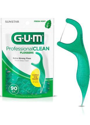 Флосс-зубочистки gum professional clean flossers extra strong 90 шт