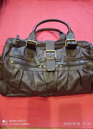 Большая красивая кожаная сумка для жизни, для путешествий , натуральная кожа.