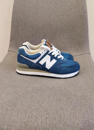 Кроссовки new balance 574 натуральная замша синего цвета