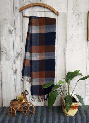 Шерстяной теплый шарф в крупную коеточку marks and spencer