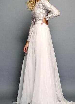 Кружевное свадебное платье бохо а-силуэт с длиным рукавом закрытое cb-6022